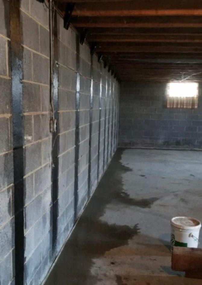 sealing coating on basement wall