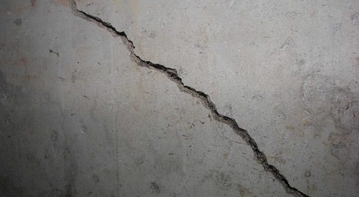 basement concrete cracked wall