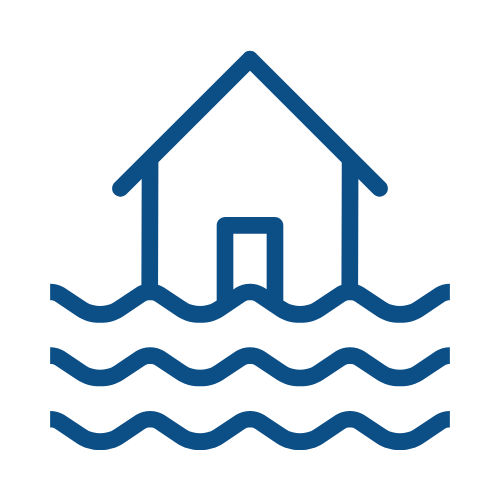 waves on a house, symbolizing waterproofed house