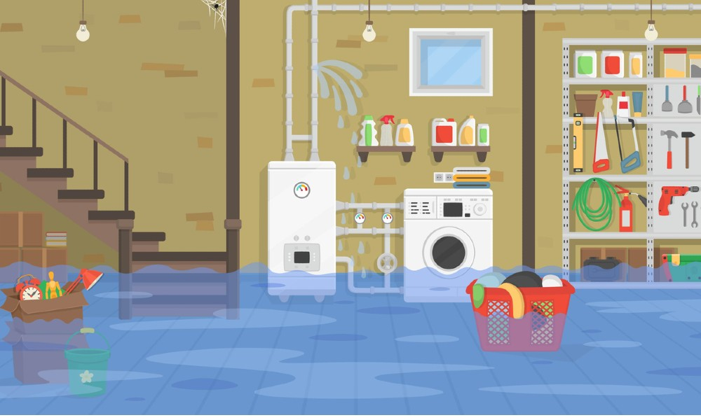 Illustration of basement leaks with floating objects, burst pipes, and compromised appliances.