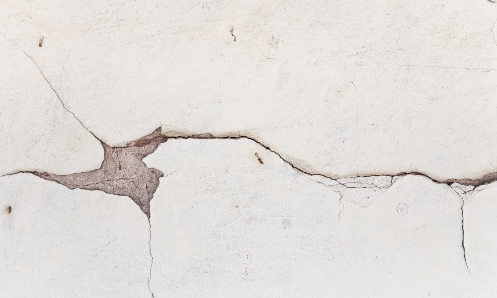 a crack in drywall