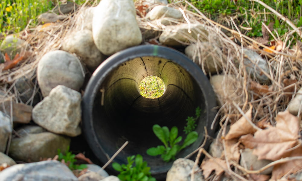 looking through a finished installation of a french drain with a black pope and rocks surrounded it